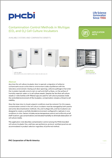 Contamination Control Methods in CO2 and Multigas Cell Culture Incubators