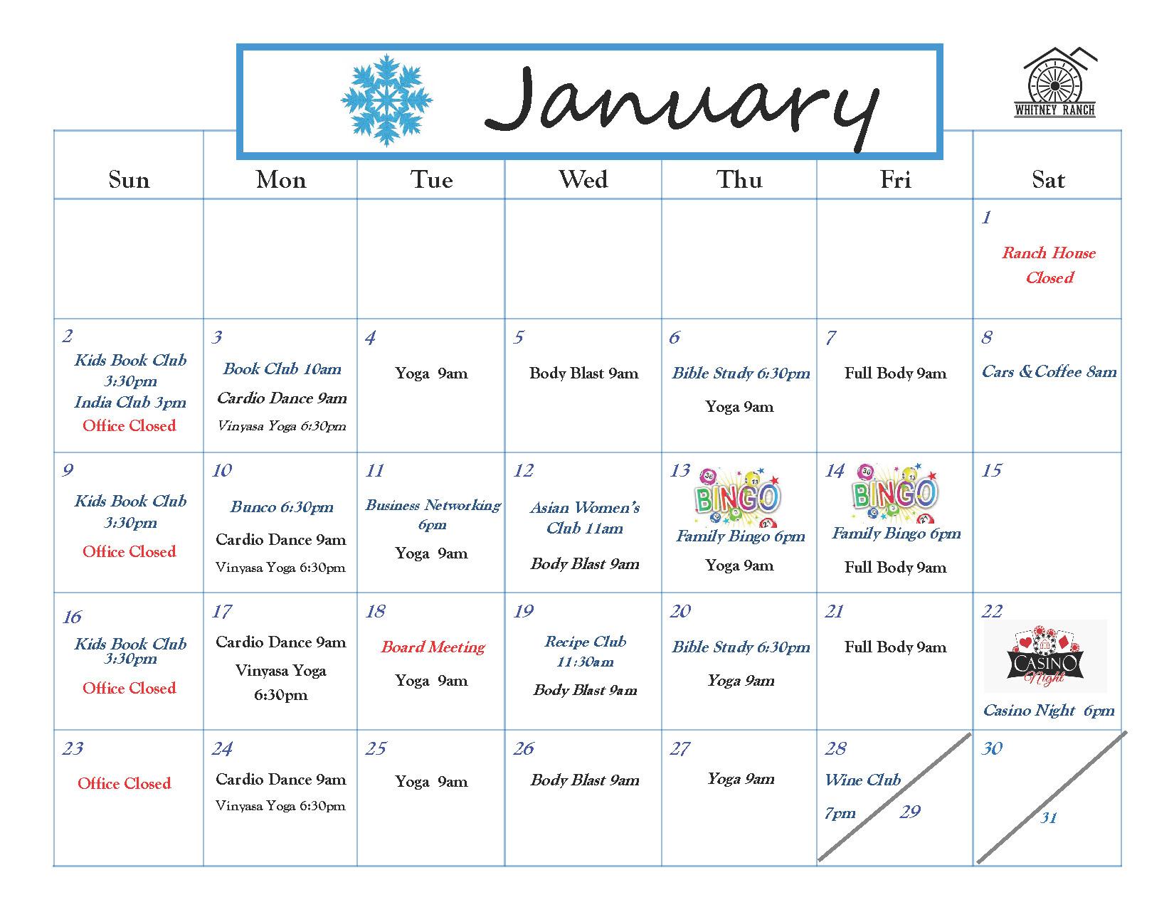 Whitney Ranch HOA Calendar Events